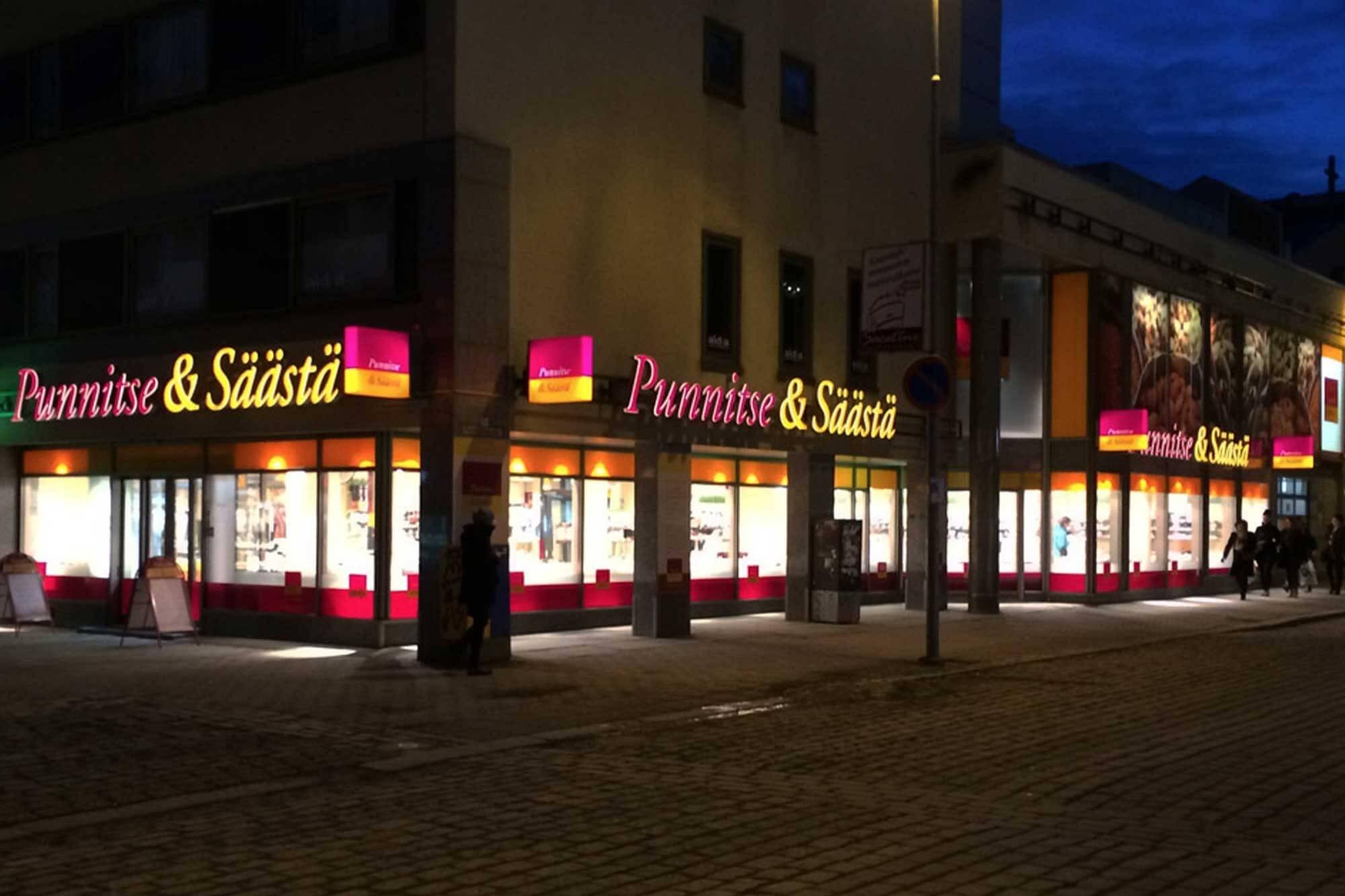Myymälöiden valomainokset ja ulkoasu